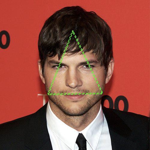 Ashton Kutcher, visage en triangle