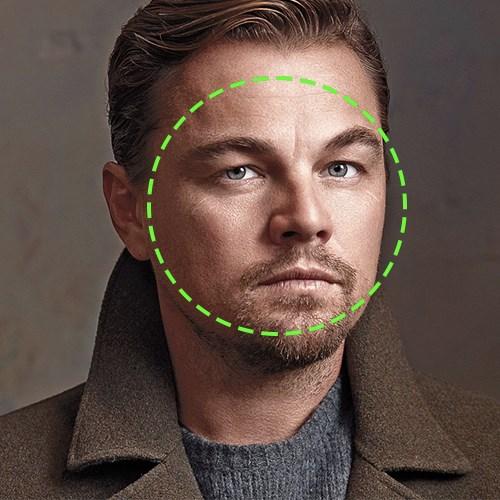 Leonardo Dicaprio, visage rond