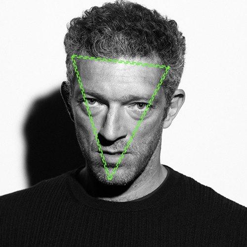 Vincent Cassel, visage en triangle inversé